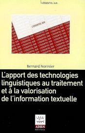 L'apport des technologies linguistiques au traitement et à la valorisation de l'information textuelle - Couverture - Format classique
