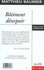 Batiment Desespoir - 4ème de couverture - Format classique
