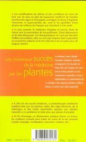 Les nouveaux succes de la medecine par les plantes - 4ème de couverture - Format classique