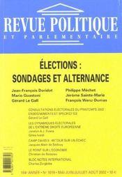 Revue Politique Et Parlementaire N.1019 ; Elections : Sondages Et Alternance - Intérieur - Format classique