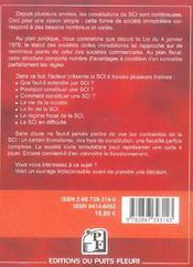La Societe Civile Immobiliere. Pourquoi & Comment Constituerune S.C.I.? Formalites,Gestion,Regime Fi - 4ème de couverture - Format classique