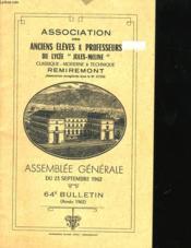 Assemblee Generalme Du 23 Septembre 1962 - 64eme Bulletin (Annee 1962) - Couverture - Format classique
