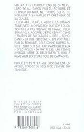 La Rue Obscene - 4ème de couverture - Format classique