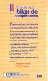 Les conseils t.229 ; reussir son bilan de competences - 4ème de couverture - Format classique
