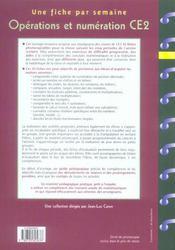 Une Fiche Par Semaine ; Operations Et Numération ; Ce2 ; Fiches A Photocopier - 4ème de couverture - Format classique