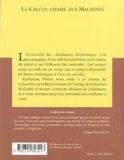 Le Calcul Confie Aux Machines No12 - 4ème de couverture - Format classique