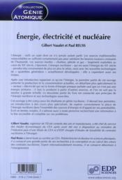 Énergie, électricité et nucléaire - 4ème de couverture - Format classique