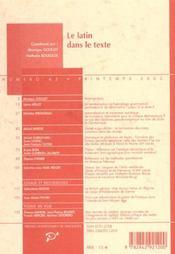 Le latin dans le texte - 4ème de couverture - Format classique
