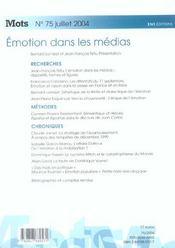 Mots t.75 ; emotion dans les medias - 4ème de couverture - Format classique