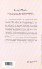 Vers une nutrition parfaite - 4ème de couverture - Format classique