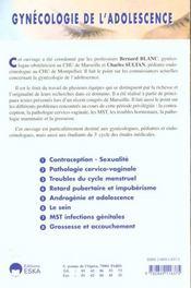 Gynecologie De L'Adolescence - 4ème de couverture - Format classique