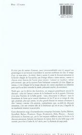 L'amour fiction ; discours amoureux et poétique du roman à l'époque moderne - 4ème de couverture - Format classique