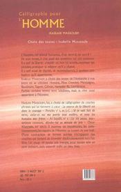 Calligraphie Pour L'Homme - 4ème de couverture - Format classique