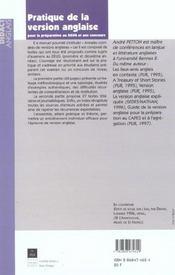 Pratique De La Version Anglaise - 4ème de couverture - Format classique