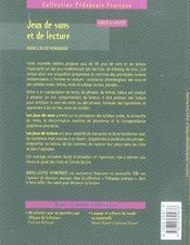 Jeux de sons et de lecture ; cycle 2 - 4ème de couverture - Format classique