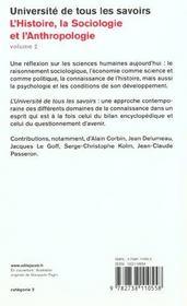 Histoire, Sociologie Et Anthropologie - 4ème de couverture - Format classique