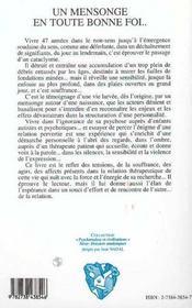 Un Mensonge En Toute Bonne Foi... Voyage A Travers Une Psychose - 4ème de couverture - Format classique