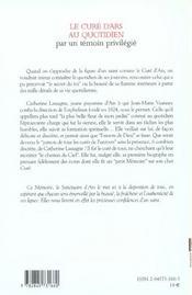 Cure D'Ars Au Quotidien - 4ème de couverture - Format classique