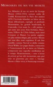Mémoires de ma vie morte - 4ème de couverture - Format classique