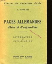 Pages Allemandes D'Hier Et D'Aujourd'Hui - Couverture - Format classique