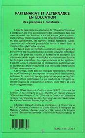 Partenariat Et Alternance En Education - 4ème de couverture - Format classique