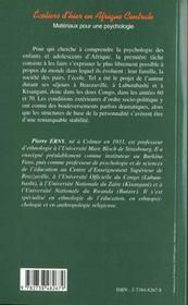 Ecoliers D'Hier En Afrique Centrale ; Materiaux Pour Une Psychologie - 4ème de couverture - Format classique