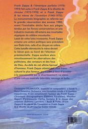 Frank zappa et l'amérique parfaite - 4ème de couverture - Format classique