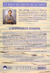 La Responsabilite Infirmiere - 4ème de couverture - Format classique