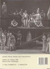Les Paravents - 4ème de couverture - Format classique