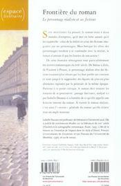 Frontière du roman ; le personnage réaliste et ses fictions - 4ème de couverture - Format classique