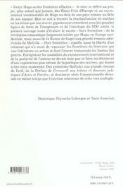 Victor hugo ou les frontieres effacees ; horizons du romantisme - 4ème de couverture - Format classique
