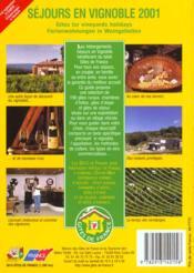 Sejours En Vignobles ; Edition 2001 - 4ème de couverture - Format classique