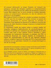 Dictionnaire De Psychotherapie Cognitive Et Comportementale - 4ème de couverture - Format classique