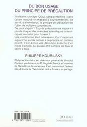 Du Bon Usage Du Principe De Precaution - 4ème de couverture - Format classique