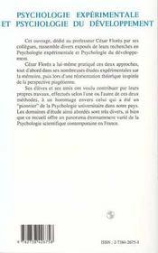 Psychologie Experimentale Et Psychologie Du Developpement ; Hommage A Cesar Flores - 4ème de couverture - Format classique