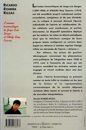 L'Univers Humoristique De Jorge Luis Borges Et Adolfo Bioy Casares - 4ème de couverture - Format classique