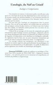 L'Analogie Du Naif Au Creatif ; Analogie Et Categorisation - 4ème de couverture - Format classique