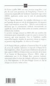 Sras, Pneumonie Atypique ; Symptomes, Risques Et Evolution - 4ème de couverture - Format classique
