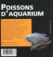 Poissons D'Aquarium - 4ème de couverture - Format classique