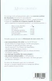 Dictionnaire Des Mots Croises - 4ème de couverture - Format classique