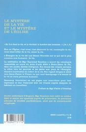 Mystere De La Vie Et Le Mystere De L Eglise - 4ème de couverture - Format classique