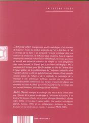 Art Pour Objet (L') - 4ème de couverture - Format classique