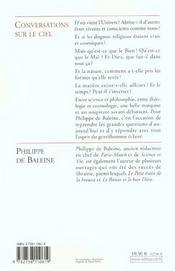 Conversations Sur Le Ciel - 4ème de couverture - Format classique