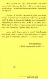 Nuit Gagee ; Quelle Langue Parle Le Poete ? - 4ème de couverture - Format classique
