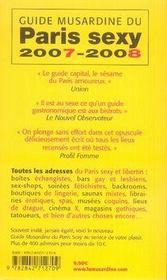 Guide musardine du paris sexy (édition 2007-2008) - 4ème de couverture - Format classique