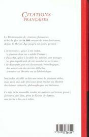 Dictionnaire de citations francaises - 4ème de couverture - Format classique