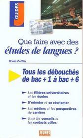 Que faire avec des etudes de langues - Intérieur - Format classique