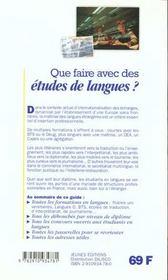 Que faire avec des etudes de langues - 4ème de couverture - Format classique