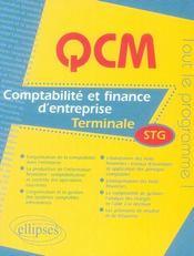 Comptabilité et finance des entreprises ; terminale stg - Intérieur - Format classique