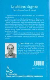 La Dechirure Chypriote ; Geopolitique D'Une Ile Divisee - 4ème de couverture - Format classique